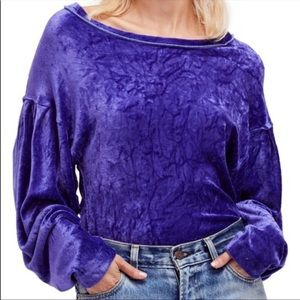 We The Free Purple Bubble Sleeve Velvet Sweatshirt